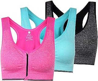 ohlyah Women's Zipper Front Closure Sports Bra Racerback Yoga Bras (XXXL 40DD 42D 44B 44C 44D, 3 Pack: Pink Green Grey)