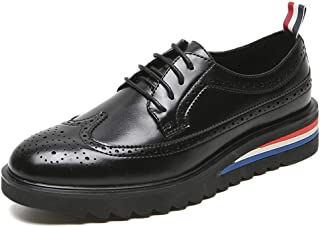 Leather Brogue Oxford for Men Casual Dress Shoes Lace up Microfiber Leather Round Toe Carving Perforated Platform shoes (Color : Black, Size : 39 EU)