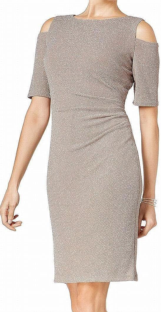 R&M Richards Women's Cold Shoulder Shimmer Dress