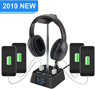 $34 Get Headphone Stand with 4 USB Charger and 2 Outlet Desktop Headset Holder Hanger Bracket with LED Lamp Alarm Clock Base - Suitable for Gaming, DJ, Boyfriend Gift(Black)