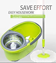 Sankirtan Plastic 360 Magic Spin Mop and Bucket Set Floor Cleaning System Stainless Steel Detachable Bucket -2 Strong Mop with Broom Mop for Cleaning Home and Office Floors
