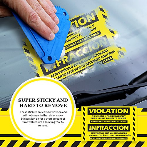 """Parking Violation Stickers Hard to Remove (Yellow) 25-Pack Bilingual Towing Messages for Warning Cars and Private Parking Areas - Hard to Remove and Super Sticky 5"""" x 8"""" by MESS Photo #3"""