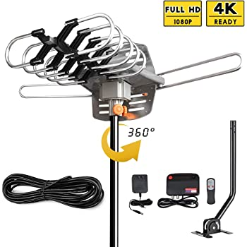 HDTV Antenna Amplified Digital Outdoor Antenna 150 Miles Range-360 Degree Rotation Wireless Remote,Supports 2 TVs UHF/VHF/1080P/4K with 33ft RG6 Cable,Mounting Pole