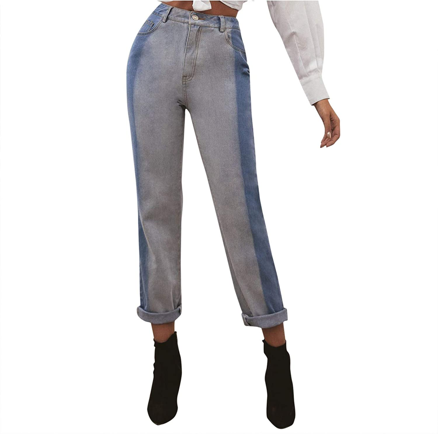 Fankle Casual Womens Tie Dye Distressed Denim Pants Hight Waisted Loose Jeans