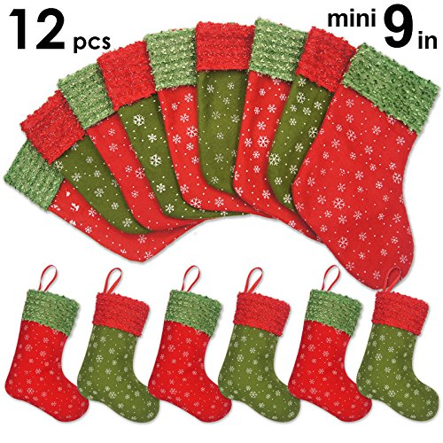 Ivenf Christmas Mini Stockings, 12 Pcs 9 inches Felt with Snowflake Printed, Gift Card Silverware...