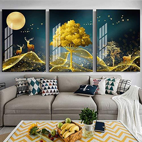 DKee wall murals Golden Trees Elk Luxury 5D Diamond Crystal Porcelain Painting Murals Triple Black Frame House Hotel Home Decorative Wall Paintings 3pcs / Set (Size : 60cm*80cm)