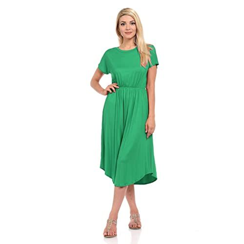 5c6eb28e2f5607 iconic luxe Women s Short Sleeve Flare Midi Dress with Pockets in Solid and  Floral - Made