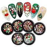 Set di decorazioni per unghie, GLAMADOR Misto di strass per nail art Diamanti Cristalli Gemme per la decorazione di unghie 3D, forme e colori misti, perfetto per il di gioielli fai da te Natale