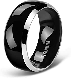 4mm 6mm 8mm Titanium Rings for Men Women Black Dome Two Tone Glossy High Polish Wedding Band Size 4-13.5