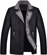 Opinionated Men's Winter Full Zipper Thick Sherpa Lined Faux Leather Jacket Winter Thicken Coat Outwear