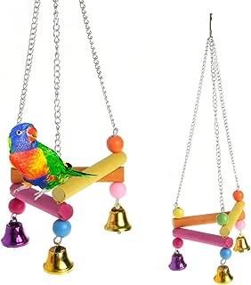 Hukai Pet Bird Parrot Parakeet Budgie Cockatiel Cage Hammock Swing Stand Hanging Toys