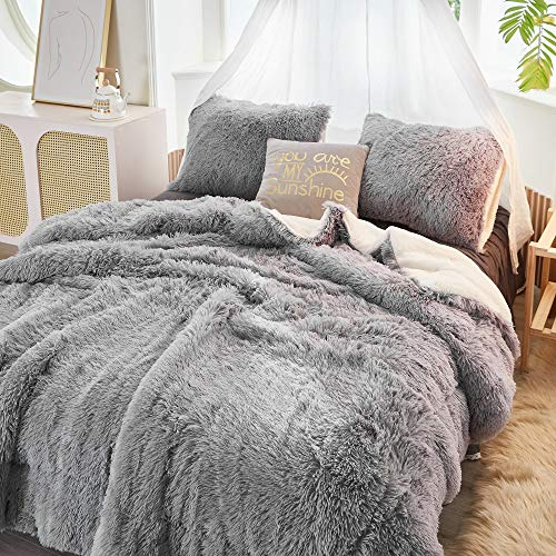FlySheep Luxury Faux Fur Long Hair Gray Shaggy Velvet Comforter Plush Sherpa Backing Bedding Set Warm for Winter - Soft Microfiber (Grey, Queen)