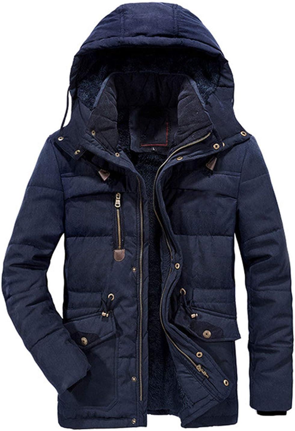 Uaneo Mens Casual Loose Thick Detachable Hood Fleece Sherpa Lined Chuncky Parka Jackets(Blue-XS)