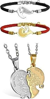 Flongo Couple Colliers & Bracelets pour Femme Homme, Gourmettes Colliers Couronnes His & Her King Queen Argent Noir Or Fan...