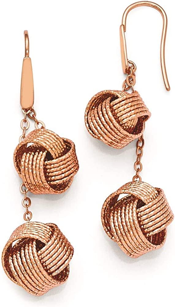 Bronze Diego Massimo Textured Rose Tone Knot Drop Dangle Chandelier Earrings Fashion Jewelry For Women Gifts For Her