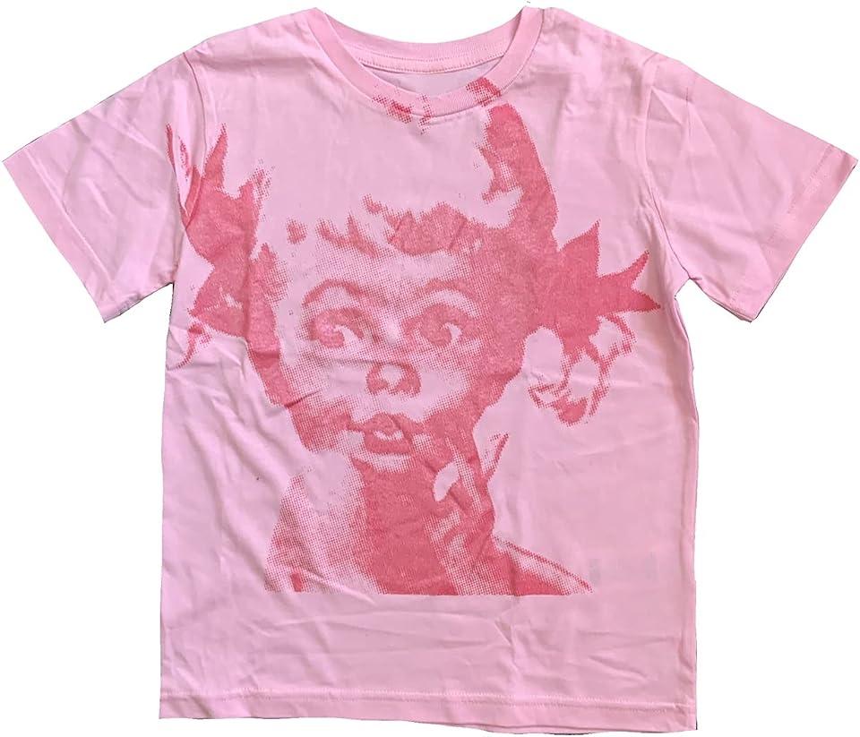 Women Vintage Graphic Tees Teen Girls Y2k T Shirts Summer Slim Fit E-Girl Short Sleeve Portrait Print Top Streetwear (Pink,Medium)
