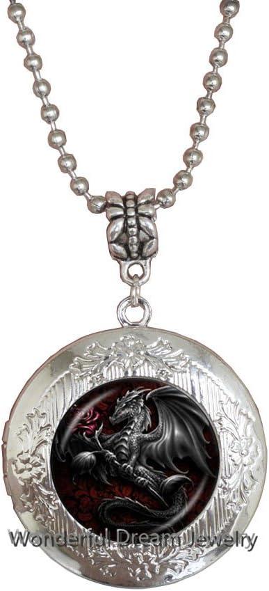 Waozshangu Rose Black Dragon Locket Mail order cheap Glass Necklace Cabochon Rapid rise Lock