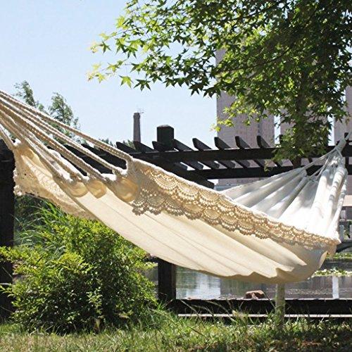 Hamacs Toile Dentelle en Plein air Reste Camping balançoire pour Les Enfants Jardin et Patio (Color : Blanc, Size : 200 * 80cm)
