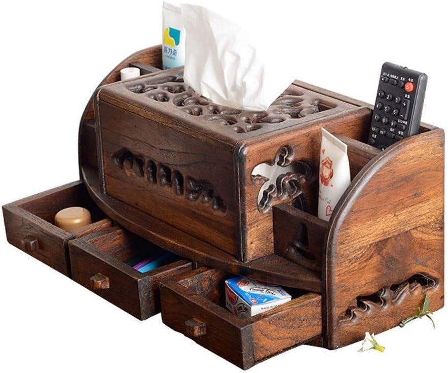 Lyqqqq Solid Wood Desktop Remote Paper Box Storage Detroit Mall Rapid rise Control Towel