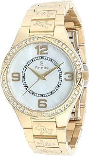 ساعة ستانلس ستيل دائرية انالوج بعقارب مزينة بفصوص للنساء من صنيكس S0379-IPG-W - ذهبي