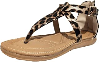〓COOlCCI〓 Women's Elastic Strappy String Thong Ankle Strap Summer Gladiator Leopard Sandals Roman Shoes