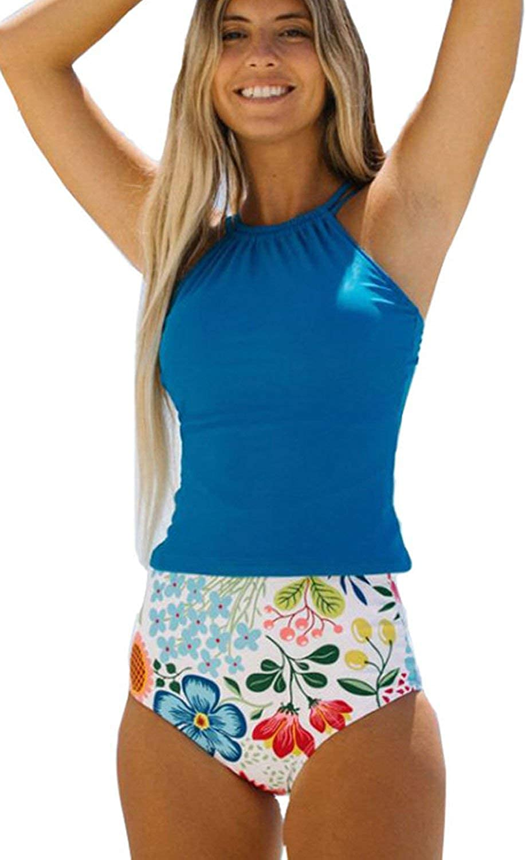 Beachsissi Women Tankini Swimsuit Flower Print High Waist Blue Modest Bathing Suit