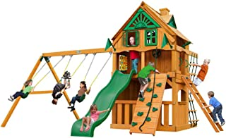 Gorilla Playsets Chateau Clubhouse Treehouse Swing Set w/Fort Add-On & Natural Cedar