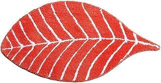Orange Bathroom Rug for Kids - Microfiber Absorbent Bathroom Mats - Front Door Mat Carpet Floor Rug, Leaf Shape - Orange