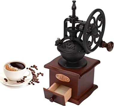 Ideashop Manual Coffee Grinder, Retro Ferris Wheel Hand Crank Coffee Grinder with Ceramic Core and Fineness Adjustment, Woode