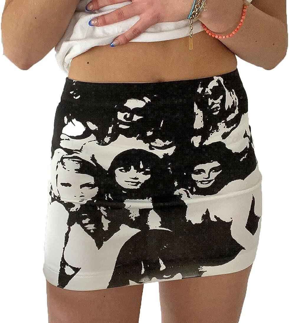 Women Face Portrait Print Mini Skirt High Waist Short Tight Skirt Y2K 90s E-Girls Wrap Slim Fitting Skirt