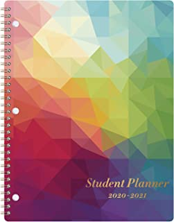 """Student Planner 2020-2021 - School Planner with Stickers, July 2020-June 2021, 8.4"""" x 10.8"""", Academic Monthly & Weekly Planner/Agenda, Thick Paper + Holidays + 3-Hole Punched + Twin-Wire - Colorful"""