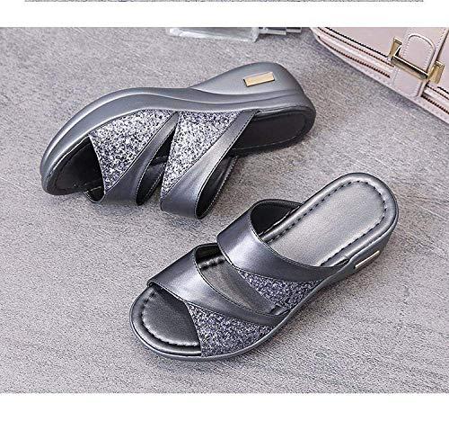 CCJW Zapatos de casa de secado rápido, sandalias de cuña exterior y pantuflas, cómodas sandalias de mujer plateadas_36, sandalias de cuña baja sin cordones kshu
