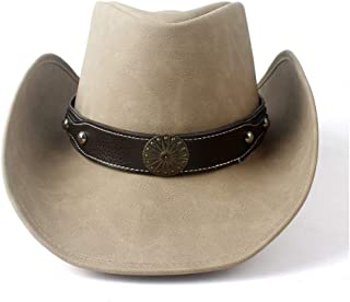 SHENTIANWEI Women Men Western Cowboy Hat with Punk Leather Ribbon Lady Dad Leather Cowgirl Sombrero Cap