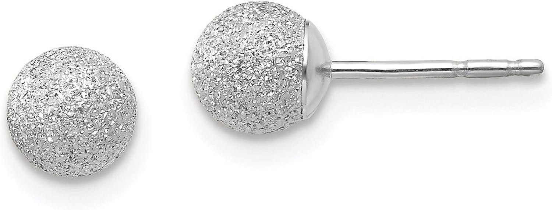 14K White Gold Madi K Laser Cut 5M Ball Post Earrings, 14k White Gold