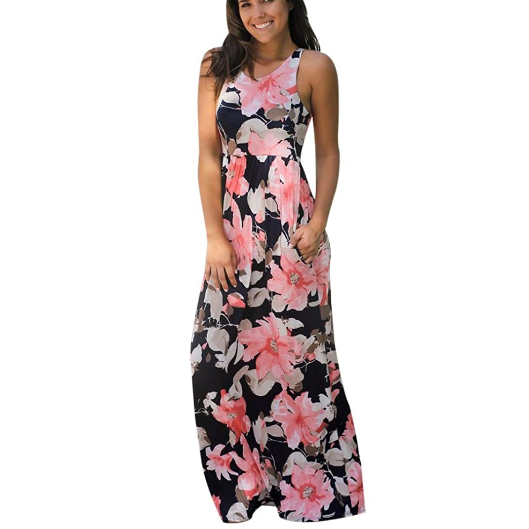 広告するトリクル野心的SakuraBest Women Sleeveless Floral Print Maxi Long Dress with Pockets (S, Watermelon)