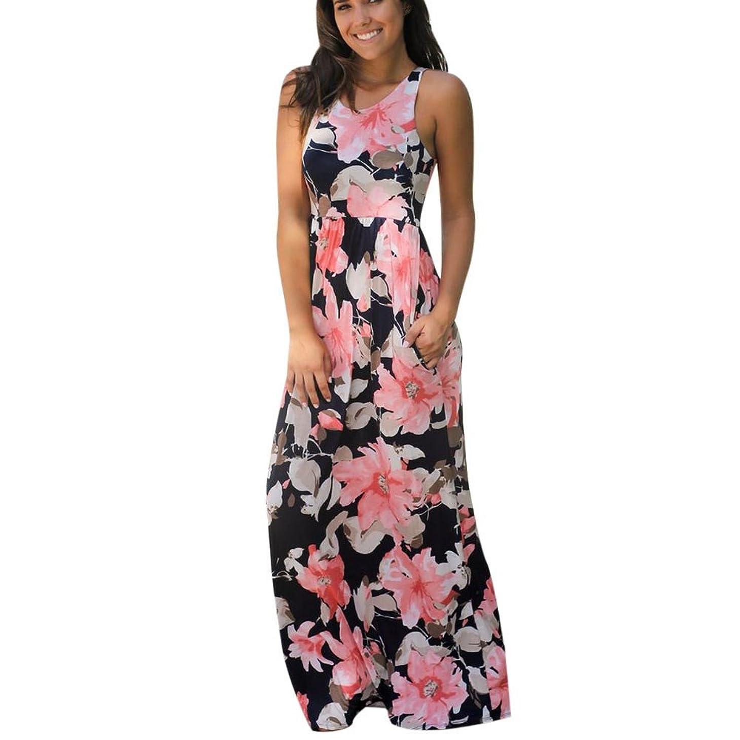 隙間マーキング入場SakuraBest Women Sleeveless Floral Print Maxi Long Dress with Pockets (M, Watermelon)