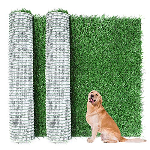 TSIANHUZY Dog Grass Pad, 2-Pack Portable Grass Pee Pads for Dogs Washable Professional Dog Grass Mat Training Grass Pee Pad for Indoor Outdoor Porches Apartments and Houses Grass Turf Mat Replacement