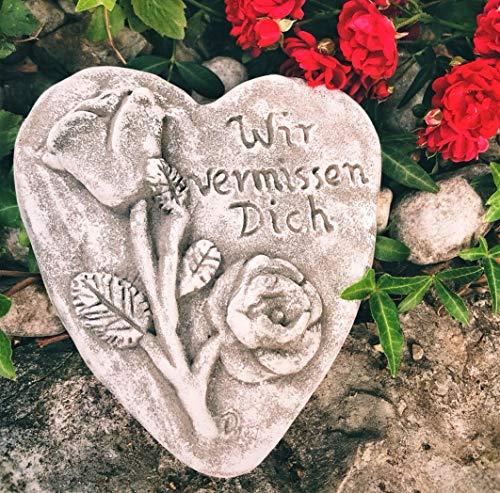 Radami Grabherz Spruch - Wir vermissen Dich - Grabschmuck Steinguss Herz 3D Rose Dunkel