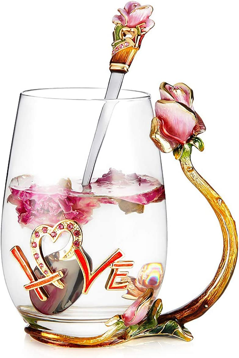 Industry No. 1 Luka Tech Enamels flower Lead-free Glass Chicago Mall Mugs Tea Coffee Cup wit