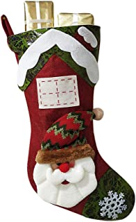 Padaleks Christmas Socks Candy Gift Bag Cute Santa Snowman Stockings Plush Applique Elk Hanging Loops Xmas Pendant