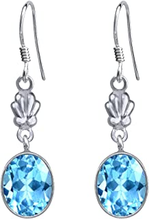 Orchid Jewelry womens girls female 925-Sterling sterling-silver oval-shape Blue blue-topaz
