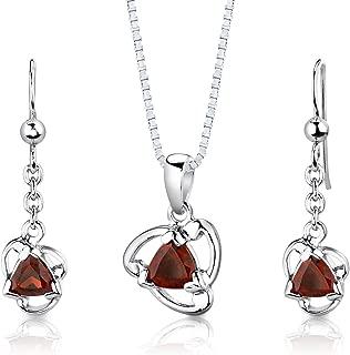 Garnet Pendant Earrings Necklace Sterling Silver Rhodium Nickel Finish Trillion Shape 2.00 Carats