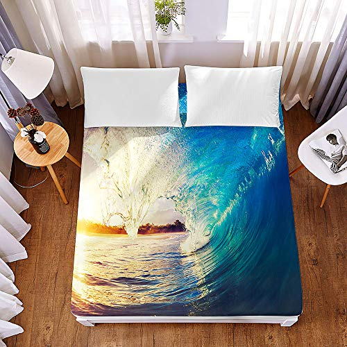Bedding Fitted Sheets Extra Deep 30 cm, Morbuy 3D Surfboard Surfing Bedding Microfiber Soft Fade Resistant Bed Sheets for Single Double King Size, Only Bedsheet No Pillowcases (120 * 200 * 30cm,F)