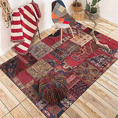 WQ-BBB Alfombra formaldehído La Alfombrae Decoración étnica Retro alfombras Salon Rojo Negro Azul marrón Duradero SalaDeEstar Alfombra 45X75cm