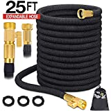 Garen hose Expandable Garden hose Water hose Flexible hose with 3/4 Solid Brass Fittings 3 Layers Flex Strong Latex Durable 3750D Strength Fabric with Storage Bag (25 FT HOSE ONLY)