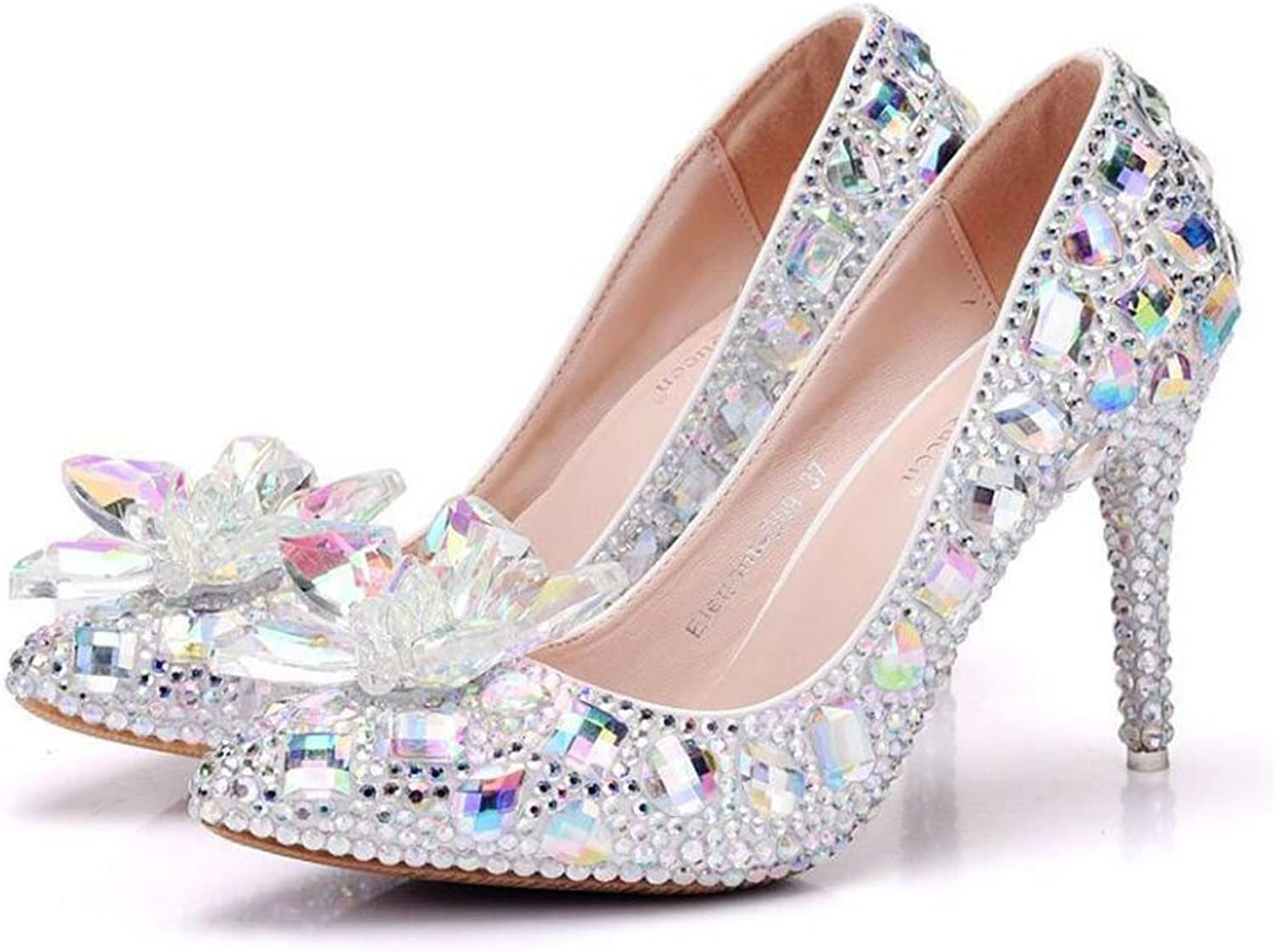 FLYSXP 9 cm Single shoes Crystal Glass Flower High Heels Single shoes Female Rhinestone Pointed Single shoes Large Size shoes Female 34-41 Yards Women's shoes (color   Colour, Size   41)
