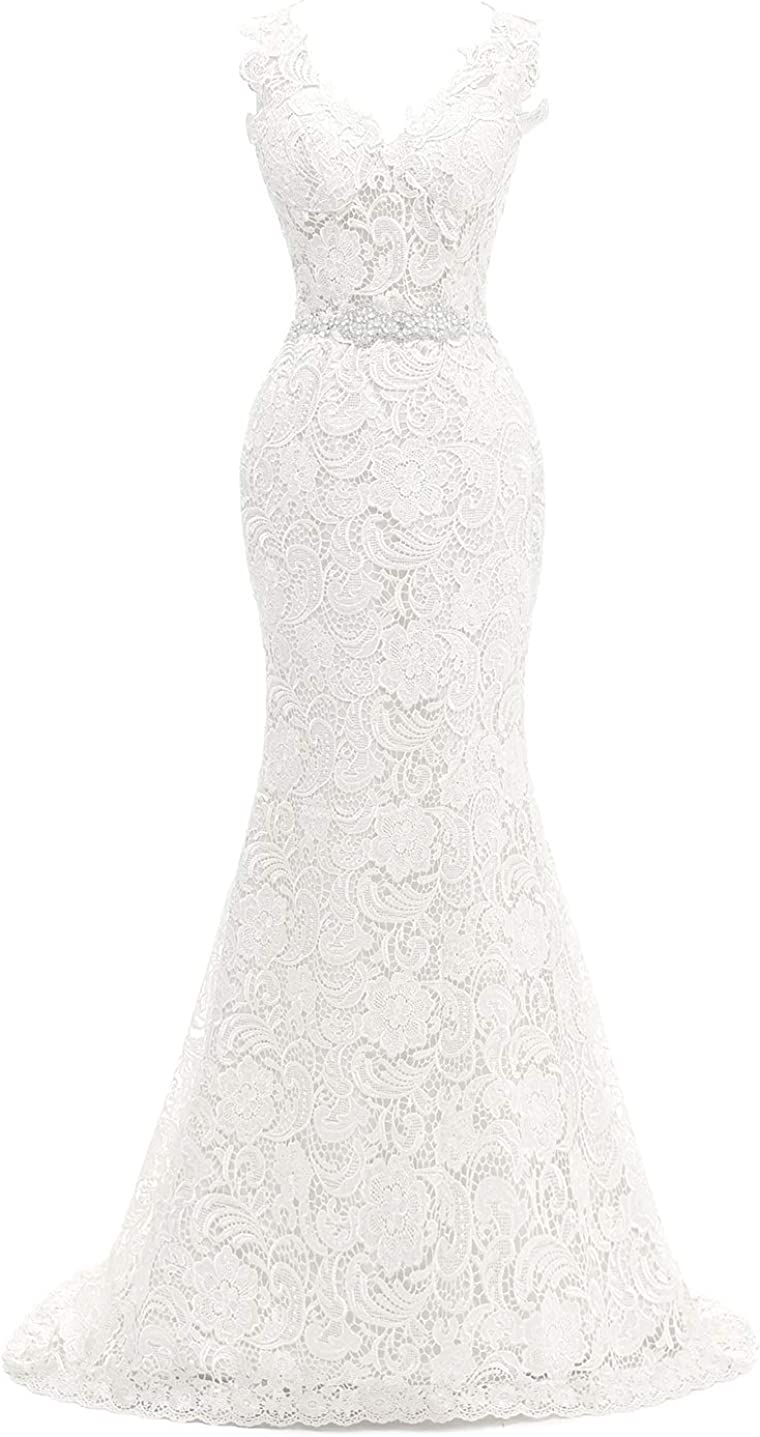 Wedding Dress for Bride Mermaid Bridal Gowns Lace Bride Dress V Neck Wedding Gowns with Sash