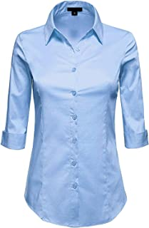 MAYSIX APPAREL 3/4 Sleeve Stretchy Button Down Collar Office Formal Casual Shirt Blouse for Women Fit (XS-6XL)