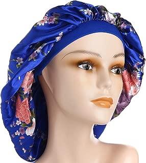 Large Satin Sleep Cap Silk Elastic Night Sleeping Hat Bonnet Nightcap Head Cover with Comfortable Wide Band for Women (BL-XL)