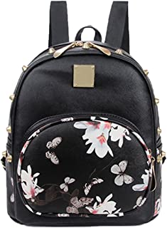 Mini Backpack Casual Faux Leather Studded Floral Travel Backpack Purse